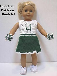 Crochet Pattern #CL18 Cheerleader Outfit Fits 18 inch dolls