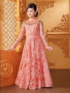 Shop Stunning pink net designer gown online from India. Pakistani Kids Dresses, Indian Anarkali Dresses, Indian Fashion Dresses, Gowns For Girls, Frocks For Girls, Dresses Kids Girl, Baby Dresses, Kids Party Wear Dresses, Designer Party Wear Dresses