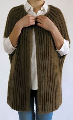 Knitting Pattern Fast, Easy Cocoon Vest - #ad Francis Vest is knit in a Fisherman Rib tba vest easy shrug quick project
