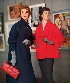 Jean Patchett and Dovima in winter fashions, 1953.