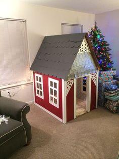 DIY cardboard playhouse: