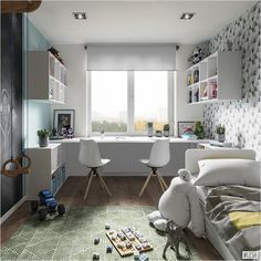 Kids Room Design Ideas with Brilliant Layout Design Study Room Design, Kids Room Design, Home Office Design, Home Office Decor, Home Decor, Guest Bedroom Office, Small Room Bedroom, Ikea Boys Bedroom, Baby Bedroom