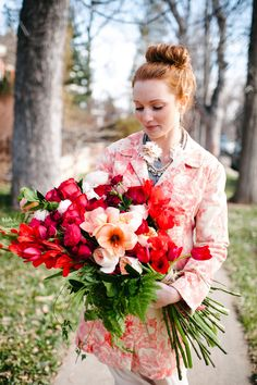 This bride surprised her husband for their First Valentine's Day Together with an intimate photoshoot by Michele Hart Photography    Floral Design by CoriCook.com    Read more on Style Me Pretty:  http://www.StyleMePretty.com/southwest-weddings/2014/02/14/peach-red-valentines-day-shoot/
