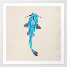 Catfish Art Print by Jacek Muda #catfish #fish #illustration #society6 #design