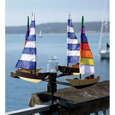 Solar- and Wind- Powered Sailboat Spinner with LED Beacon Light ...