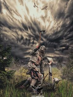 Viking on the way to Valhalla by thecasperart