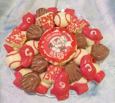 Cincinnati Reds Baseball chocolate candy tray. This looks yummy! | #Reds #RedsBaseball