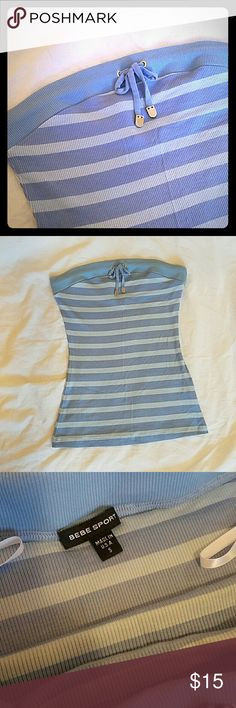 Bebe Sport Tube top Very soft stripped tube top. Bebe Sport. Size S. never worn. Top part has a thick elastic band for perfect hold. Bebe Tops Tank Tops