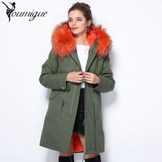 (177.18$)  Know more - http://aioxs.worlditems.win/all/product.php?id=32773005873 - YOUMIGUE 2017 Winter Women Parka Woman Clothes raccoon collar Long Jacket Women's Artificial Lining Coat casacas giacca donna