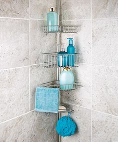 Lovely Satin Nickel Lakeview Four Tier Tension Pole Shower Caddy Pictures