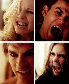 Caroline (top left) Stefan (top right) Damon (bottom left) either Katherine or elana (bottom right)