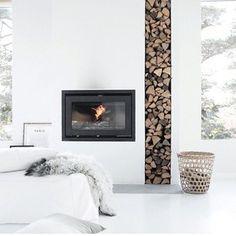 Flush hearth, fireplace, log stack