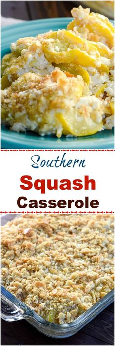 Southern Squash Casserole is a comforting side dish casserole, often served during the holidays, with tender, cooked yellow squash, onions,  sour cream and cheddar cheese topped with crushed buttery crackers. via Flavor Mosaic