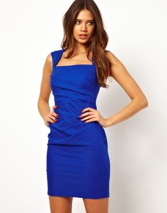 Lipsy Blue Pleated Pencil Dress with Square Neck sz 12