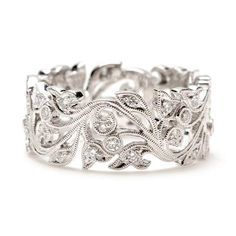 Beverley K Vine Scroll Diamond Wedding Band
