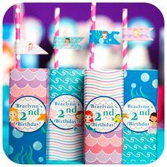 Mermaid juice boxes from a Sweet Little Mermaid Birthday Party on Kara's Party Ideas | KarasPartyIdeas.com (26)