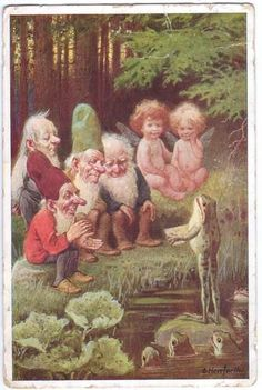 Artist Signed O HERRFURTH - FROG, GNOMES , ELVES, FAIRIES 1930 in Latvia