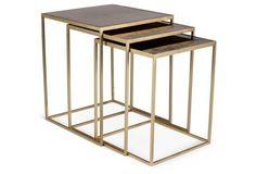 "One Kings Lane Kent Brass Nesting Tables,  Set of 3 19.75""SQx24""H $749.00"