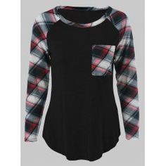 SHARE & Get it FREE   Plus Size One Pocket Plaid Sleeve T-ShirtFor Fashion Lovers only:80,000+ Items • FREE SHIPPING Join Twinkledeals: Get YOUR $50 NOW!