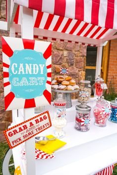Candy cart from a Backyard Carnival Party on Kara's Party Ideas | KarasPartyIdeas.com (45)