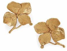 Claude Lalanne gilt Hortensia flower earrings.