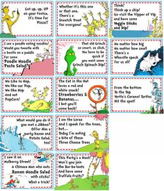 Discover and share Dr Seuss Quotes Food. Explore our collection of motivational and famous quotes by authors you know and love. Dr Seuss Party Ideas, Dr Seuss Birthday Party, Birthday Party Games, 1st Boy Birthday, Birthday Ideas, Ideas Party, Birthday Cakes, Dr Seuss Week, Dr. Seuss