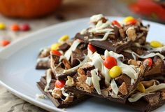 Halloween treats: Hallowene candy bark by Completely Delicious.