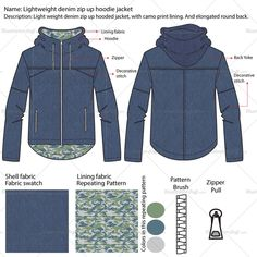 Men's light weight denim zip-up hoodie jacket fashion flat vector templates in front and back views. This file contains denim fabric swatch and a camouflage repeating pattern.
