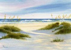 Zugang zum Strand Nummer zwei an eine schöne Zeit des Tages, wenn die langen Schatten den Sand kümmert. Dieser Giclée-Druck ist auf Arches Hotpress Aquarellpapier mit Tinten gedruckt.