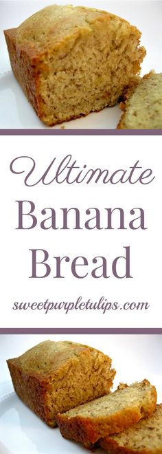This is the ultimate banana bread.  Moist and full of amazing flavor.  It is sure to become one of your favorite banana breads!