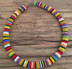 Masai necklace Rangi Nyingi by SISI mbili by Outletsrls on Etsy Rope Jewelry, Bead Jewellery, Fabric Jewelry, Jewelry Crafts, Beaded Jewelry, African Necklace, African Jewelry, Bff Bracelets, Beaded Bracelets