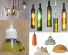 Old bottles, cups and bowls perfect for trendy light fixtures.