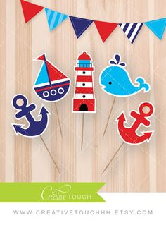 Nautical Cupcake Toppers, Nautical, Whale, Lighthouse, Sailboat, Birthday Party…