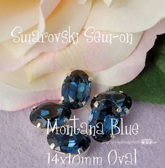 Montana Blue Sew On - Swarovski Crystal 14 x 10 Oval 4140 in a SP 4-hole Prong Setting Wire Jewelry Supply