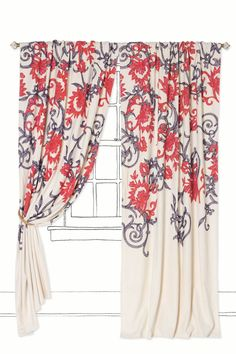 Stitched Mansoa Curtain (style#25005984, shown in Dark Blue) by Anthropologie ($208). Wool crewelwork blooms on bright-white cotton.