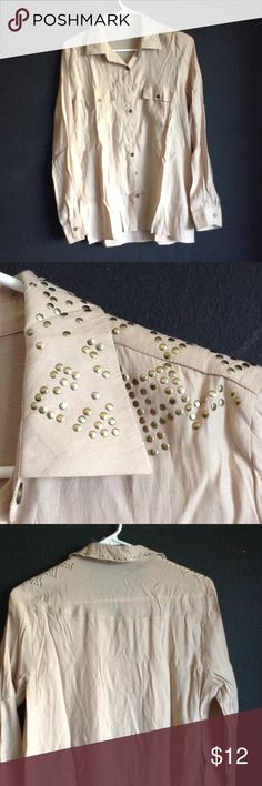 Gold studded blouse Gently used gold studded blouse. May be missing a few of the studs but it's not noticeable if so Sans Souci Tops Button Down Shirts