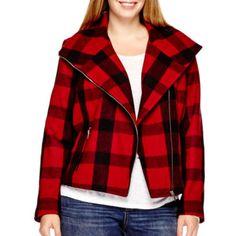 de86fb4c7219 a.n.a® Plaid Wool-Blend Moto Jacket - Plus - JCPenney Plaid Jacket