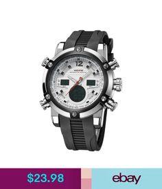 Wristwatches Weide Sport Light Display Dual Time Zones Waterproof Army Men's Wrist Watch #ebay #Fashion
