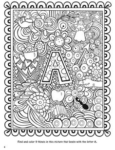 Seek, sketch and color alphabet 1