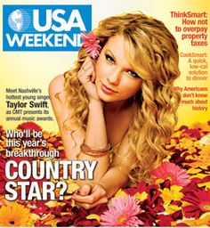 Taylor Swift on the cover of the April 13, 2008 'USA Weekend' magazine, in advance of the annual Country Music Awards show. Description from pophistorydig.com. I searched for this on bing.com/images