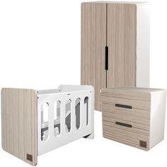 Noukies Chambre aspen bois (lit 60 x 120 cm + commode + armoire)