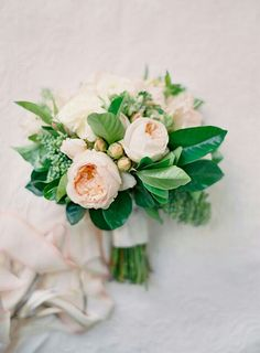 Soft & Pretty Bouquet Features Pastel Peach English Garden Roses, White Garden Roses, White Ranunculus, & Emerald Foliage****