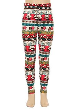L4U Girls Frosty Snowman Brushed Printed Fashion Leggings. Available in two sizes: S/M, and L/XL.