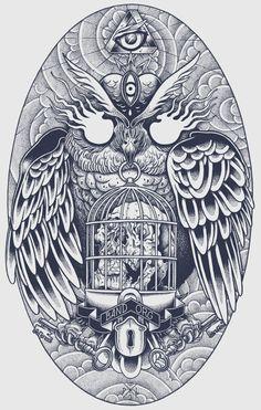bandorg by Philipp Lemm, via Behance #illustration #drawing #owl