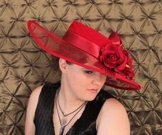 women's red wide brimmed Scarlet Rita by ClaraBellesHats on Etsy, $45.00