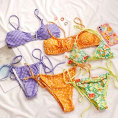 Swimsuits, Bikinis, Swimwear, Mix Match, Aesthetic Girl, Gingham, Ootd, Kpop, Fashion Outfits