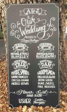 MY NOTE: chalkboard wedding program sign