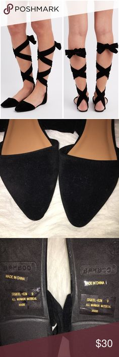 Bamboo Lace-Up Ankle Flats Only tried on. Does fit true to size. Faux suede flats with a pointed toe. Straps that lace up from the sides and around the ankle. Open back. Lightly cushioned insole. Stock photos from Charlotte Russe. ❌NO TRADES❌ Bamboo Shoes Flats & Loafers