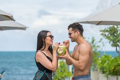 Try the fresh coconut in the relax atmosphere. The Fresh, The Rock, Coconut, Relax, Romantic, Couple Photos, Couples, Beach, Couple Shots