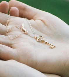Golden Key Pendant Necklace | Vintage-inspired yet completely of the moment, this Golden Key... | Necklaces
